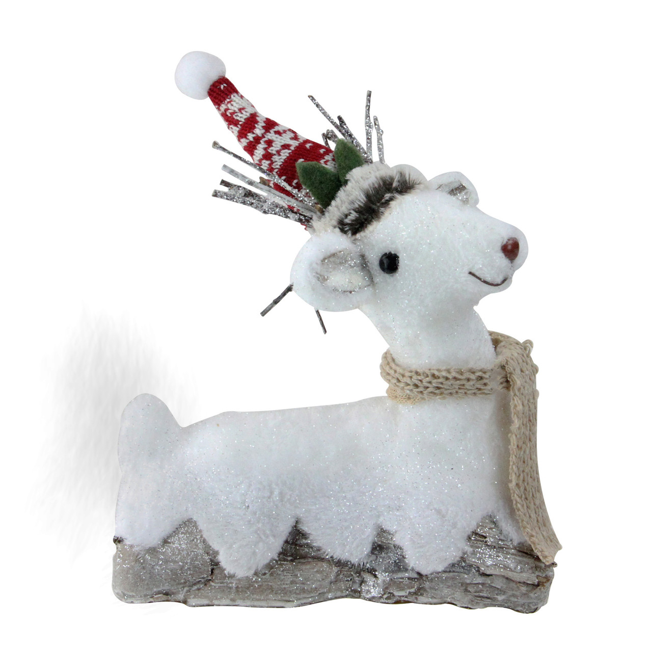 9 white and brown sitting reindeer christmas decoration 32638301 - White Deer Christmas Decoration