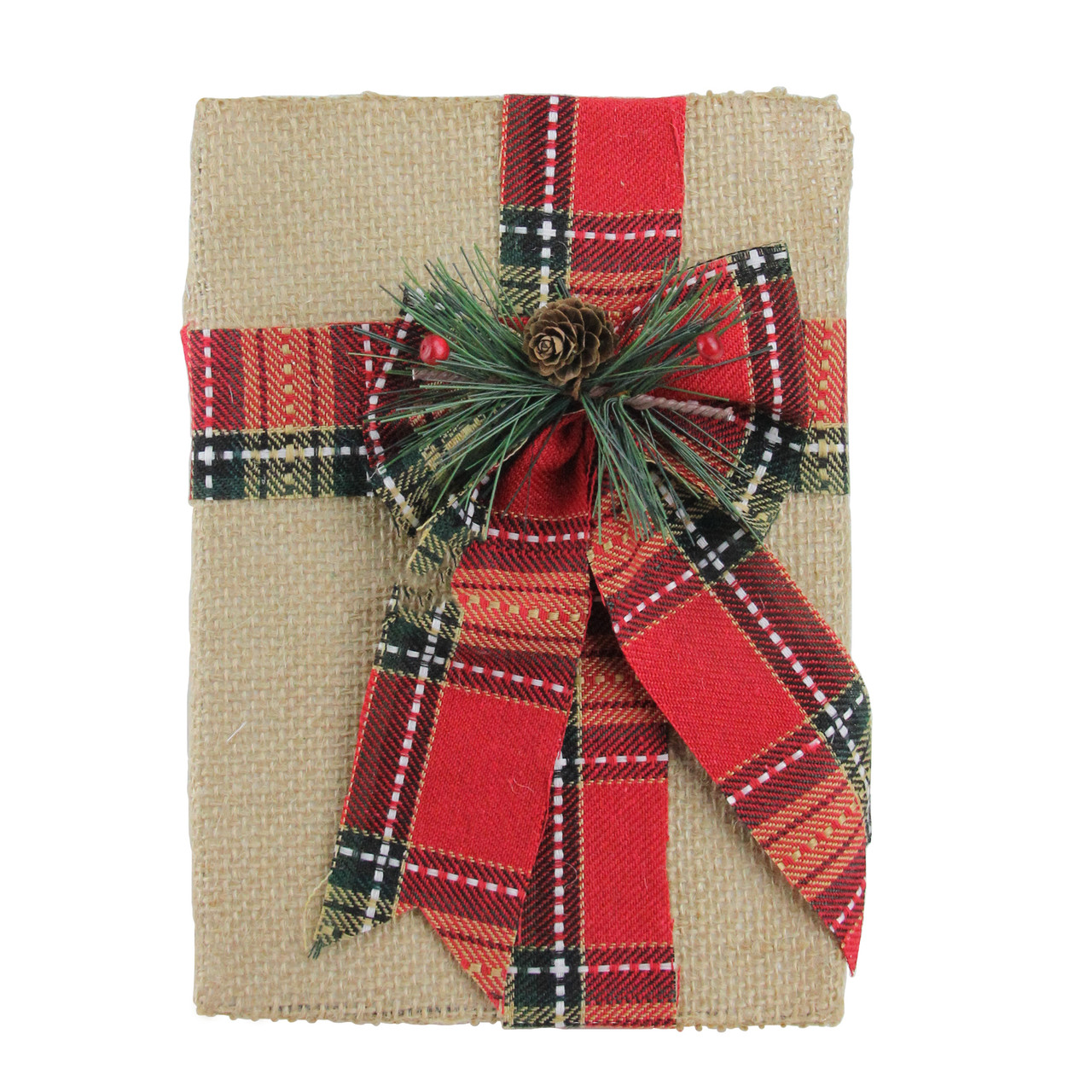 8 holiday moments decorative burlap and plaid christmas gift box decoration 32638549