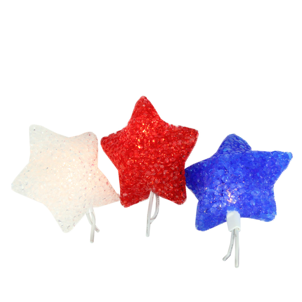 Set of 10 Red, White & Blue 4th of July Patriotic Star Lights ...