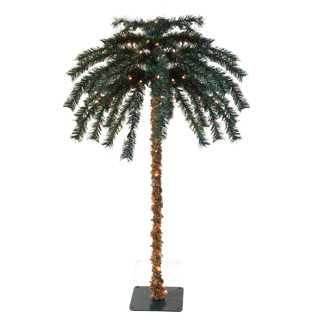 6u0027 Pre Lit Tropical Outdoor Summer Patio Artificial Palm Tree   Clear Lights