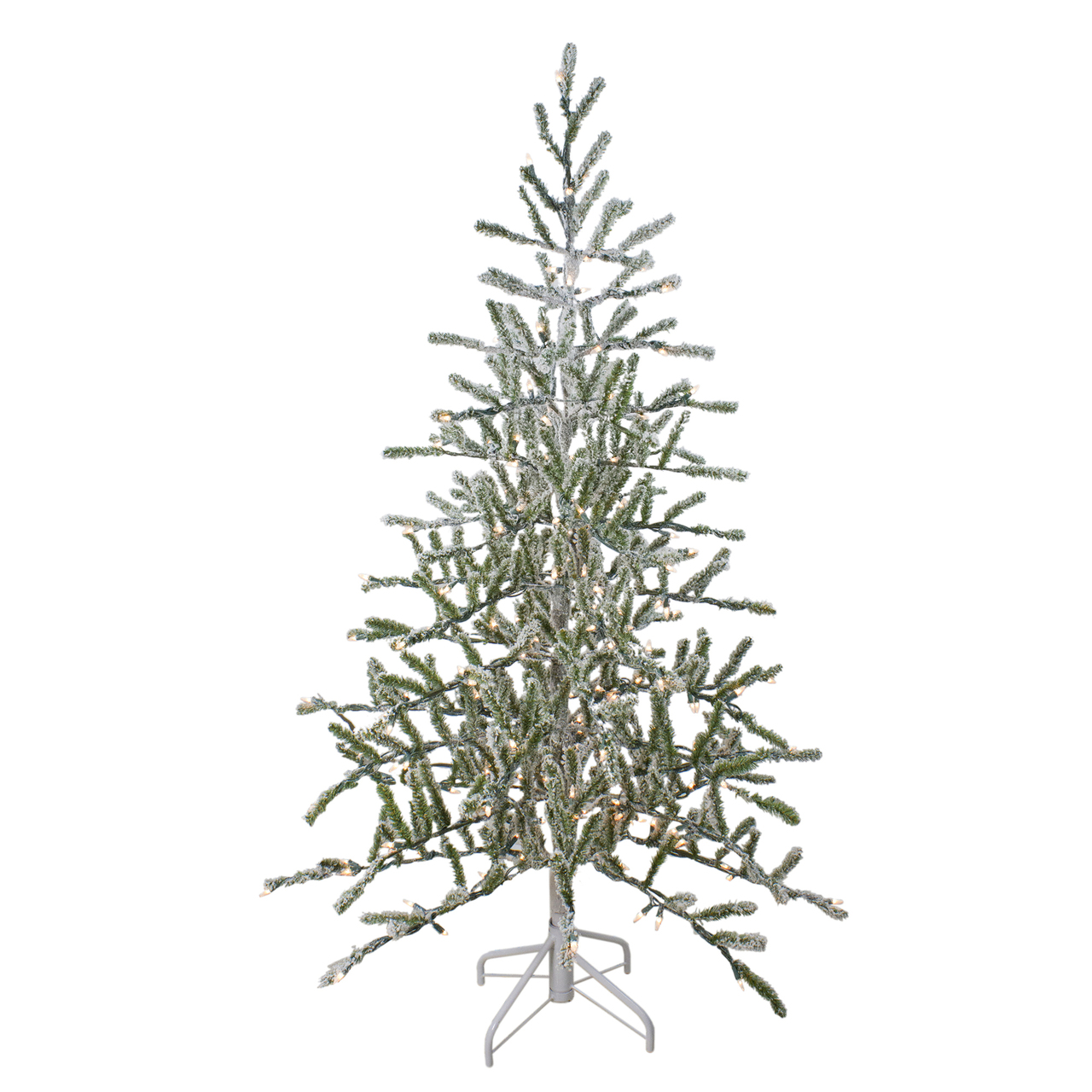 5 pre lit flocked alpine coral artificial christmas tree warm white lights 32620421