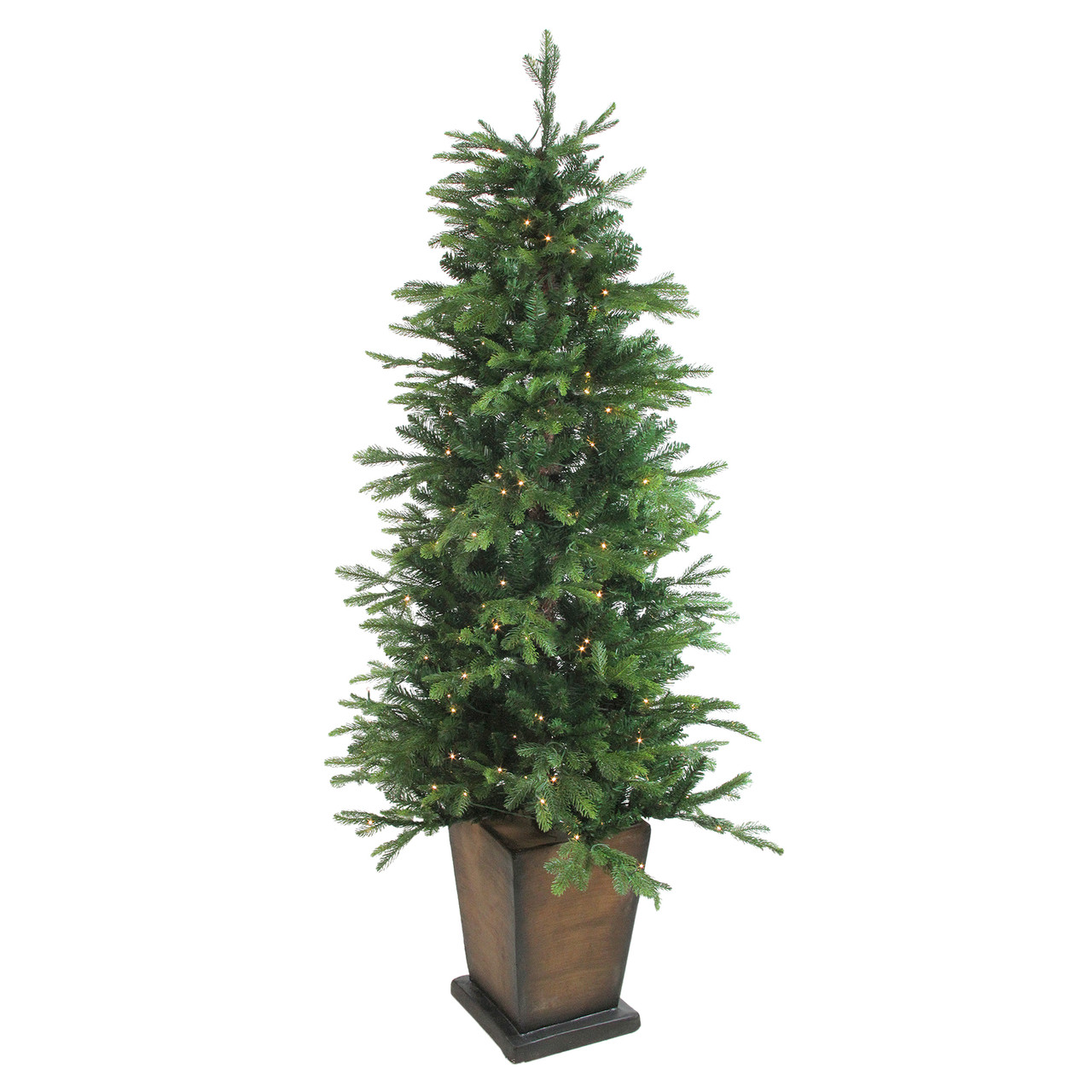 6\' Pre-Lit Potted Oregon Noble Fir Artificial Christmas Tree - Clear ...