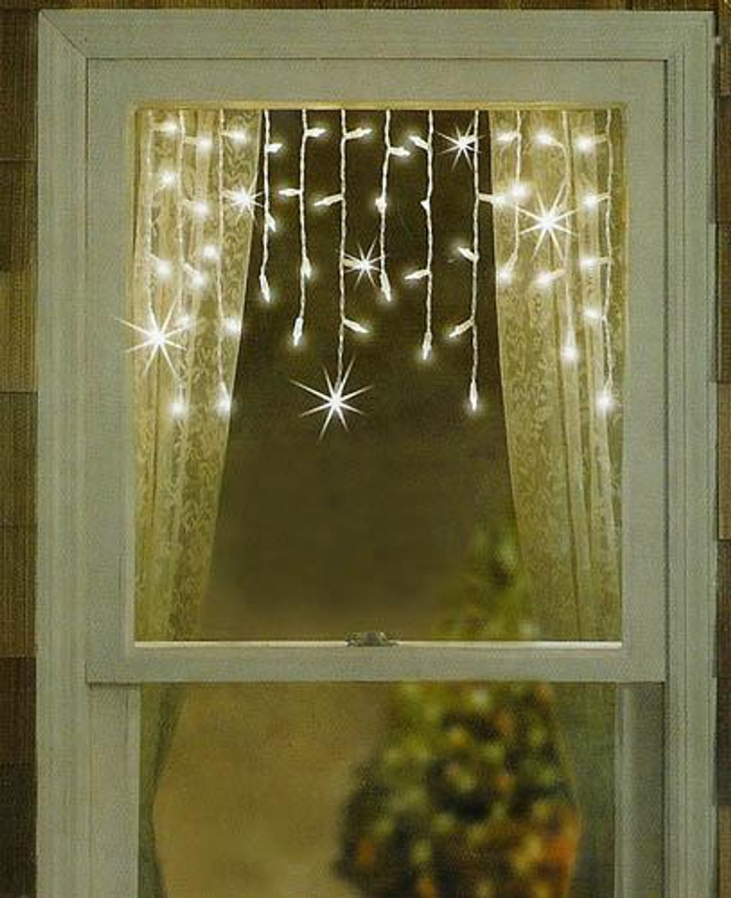 Set of 50 Clear White Mini Window Curtain Icicle Christmas Lights ...