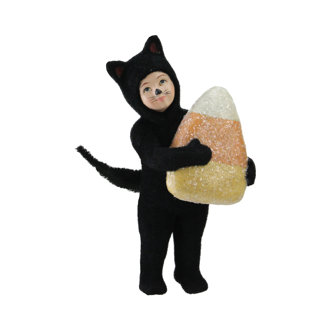 """6.25"""" child in cat costume with giant candy corn halloween"""