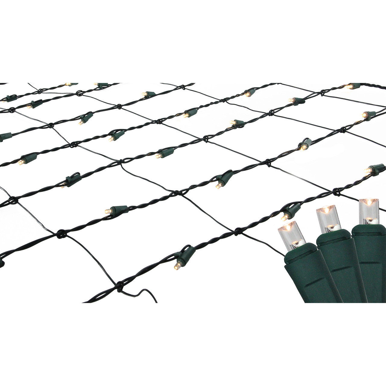 4\' x 6\' Warm White LED Net Style Christmas Lights - Green Wire ...