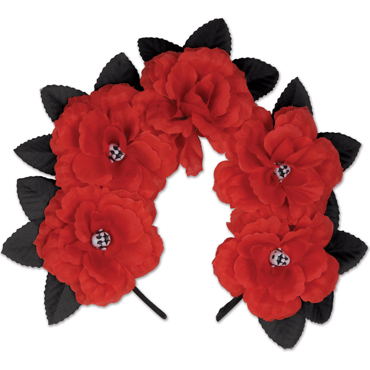 club pack of 12 day of the dead red floral halloween headbands