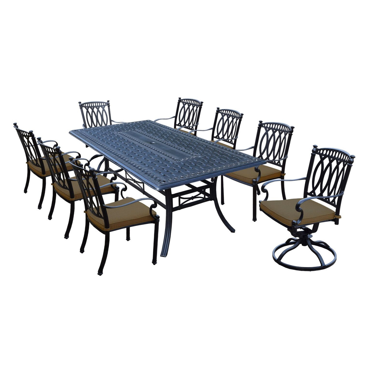 Beau 9 Piece Black Morocco Aluminum Outdoor Stackable And Swivel Patio Dining Set  W/ Tan Sunbrella Cushions   32732891