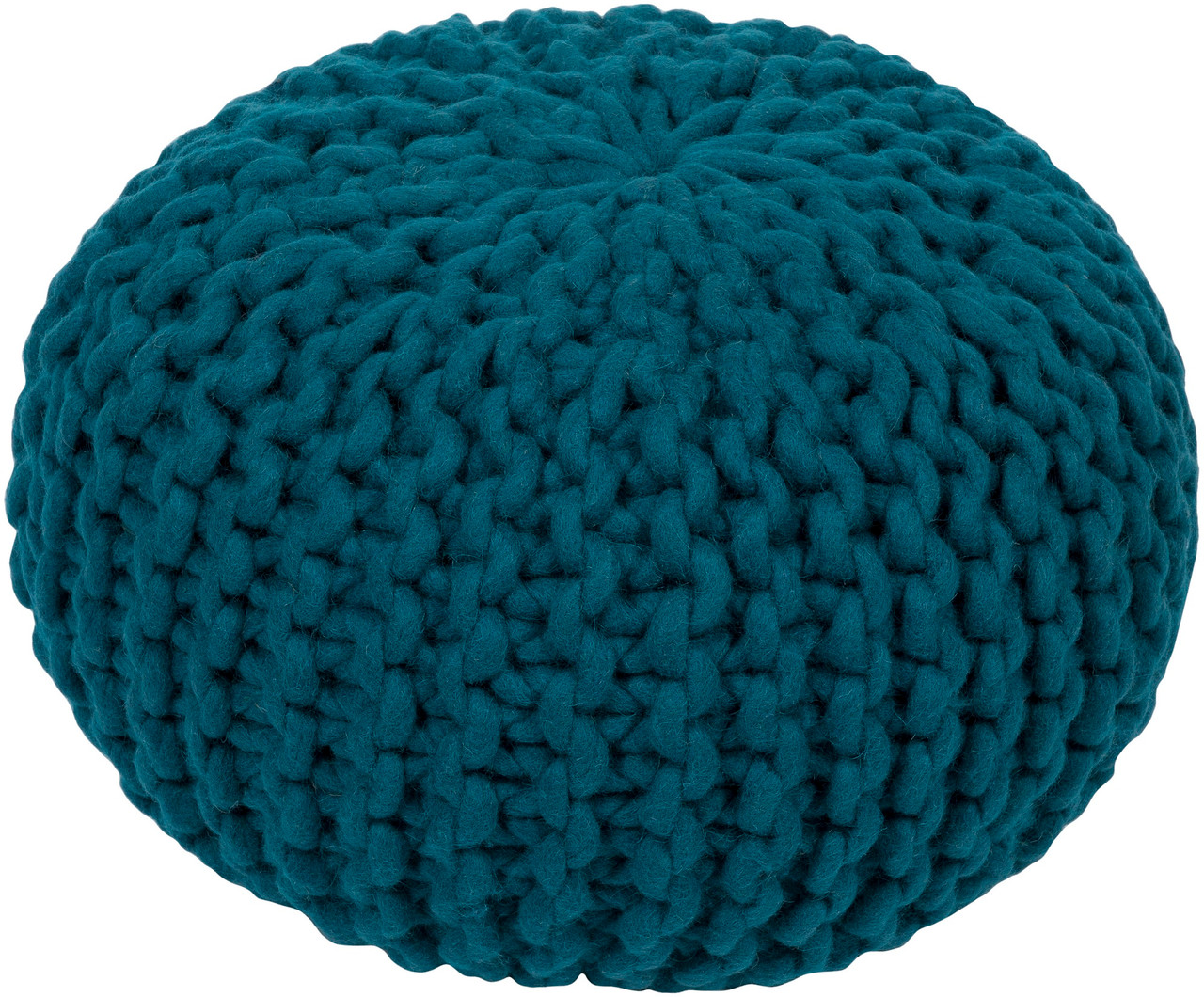 20 Teal Crochet Pattern Knitted Decorative Indoor Oval Pouf Ottoman