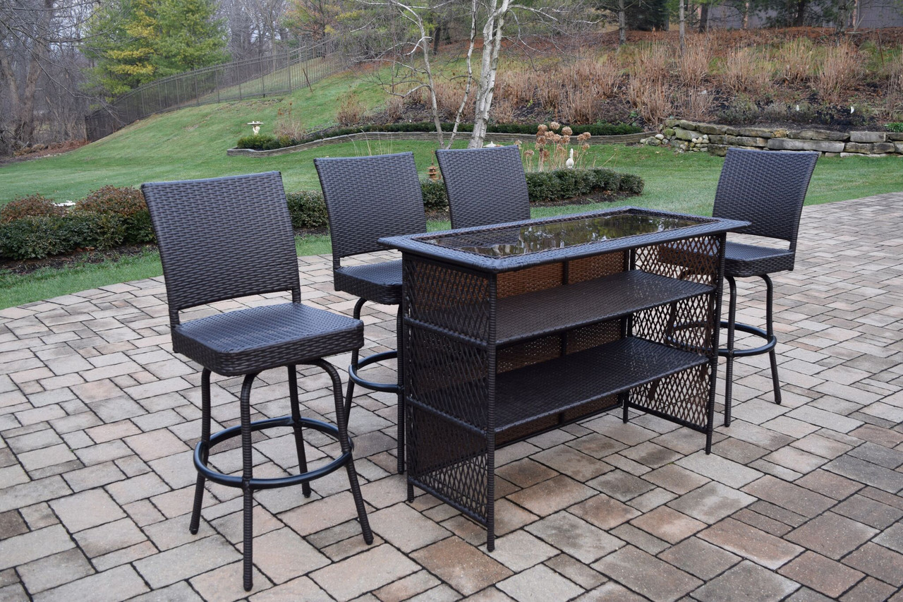 5 Piece Coffee Brown Elite All Weather Resin Wicker Outdoor Patio Bar Set    32734209