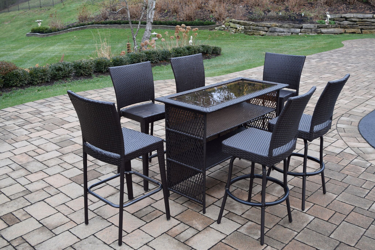 Merveilleux 7 Piece Coffee Brown Elite All Weather Resin Wicker Outdoor Patio Bar Set    32734206