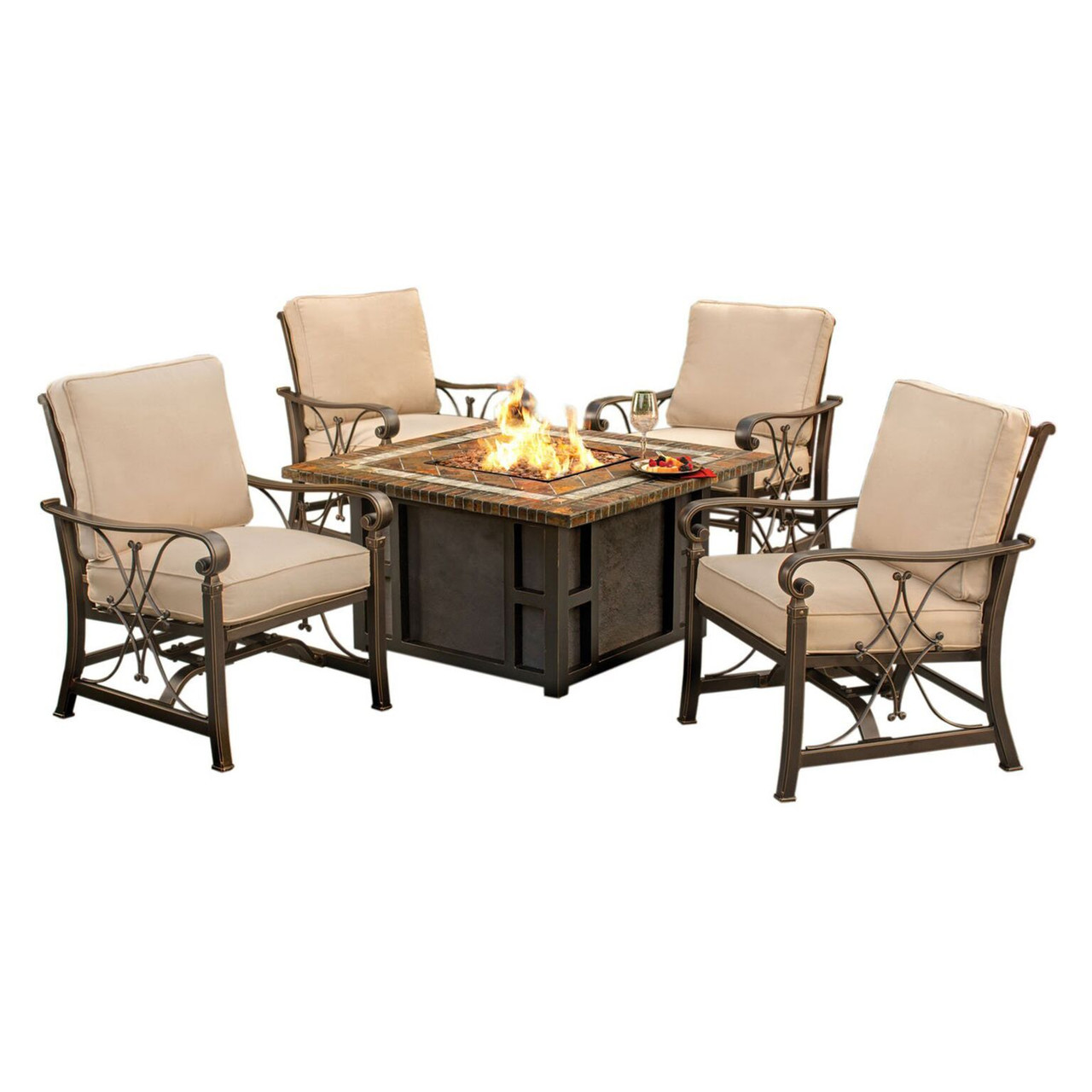 7 Piece Goldie Slate Gas Fire Pit Aluminum Rocking Chair Outdoor Patio Chat  Set   32735218