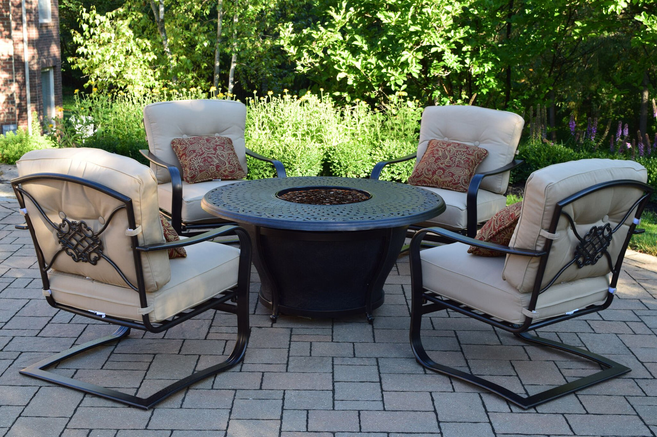 Piece Round Cast Aluminum Gas Fire Pit Set W Red Patio Rocking - Cast aluminum gas fire pit table