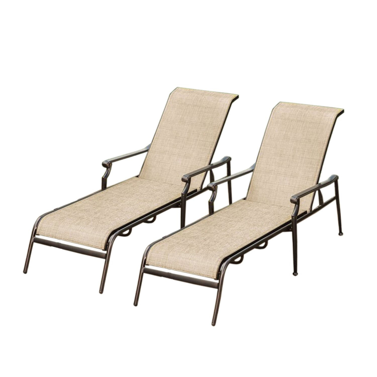 Set Of 2 Beige And Brown Outdoor Aluminum Reclining Patio Chaise Lounge  Chairs   32738529