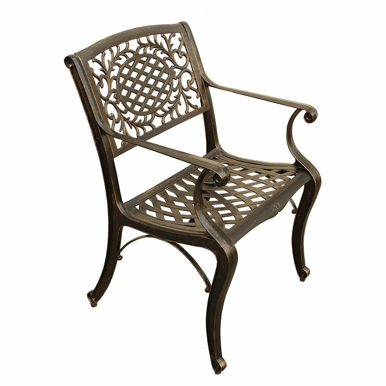 35u201d Bronze Ornate Lattice Round Aluminum Outdoor Patio Dining Chair    32739693
