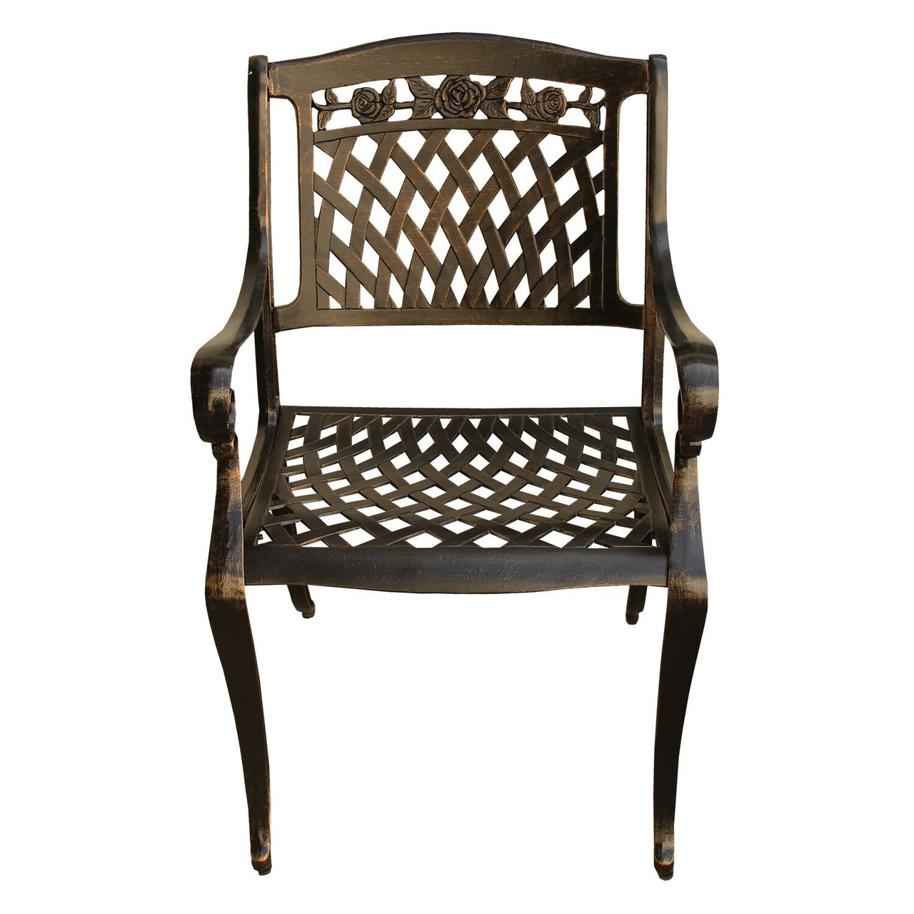 Rose Ornate Traditional Outdoor Mesh Lattice Aluminum Bronze Dining Chair    32739746