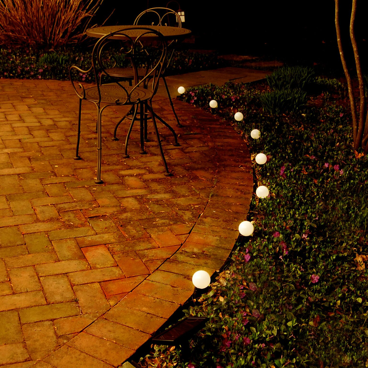 Set of 8 White Solar Powered String Lights with Ground Stakes- Black ...
