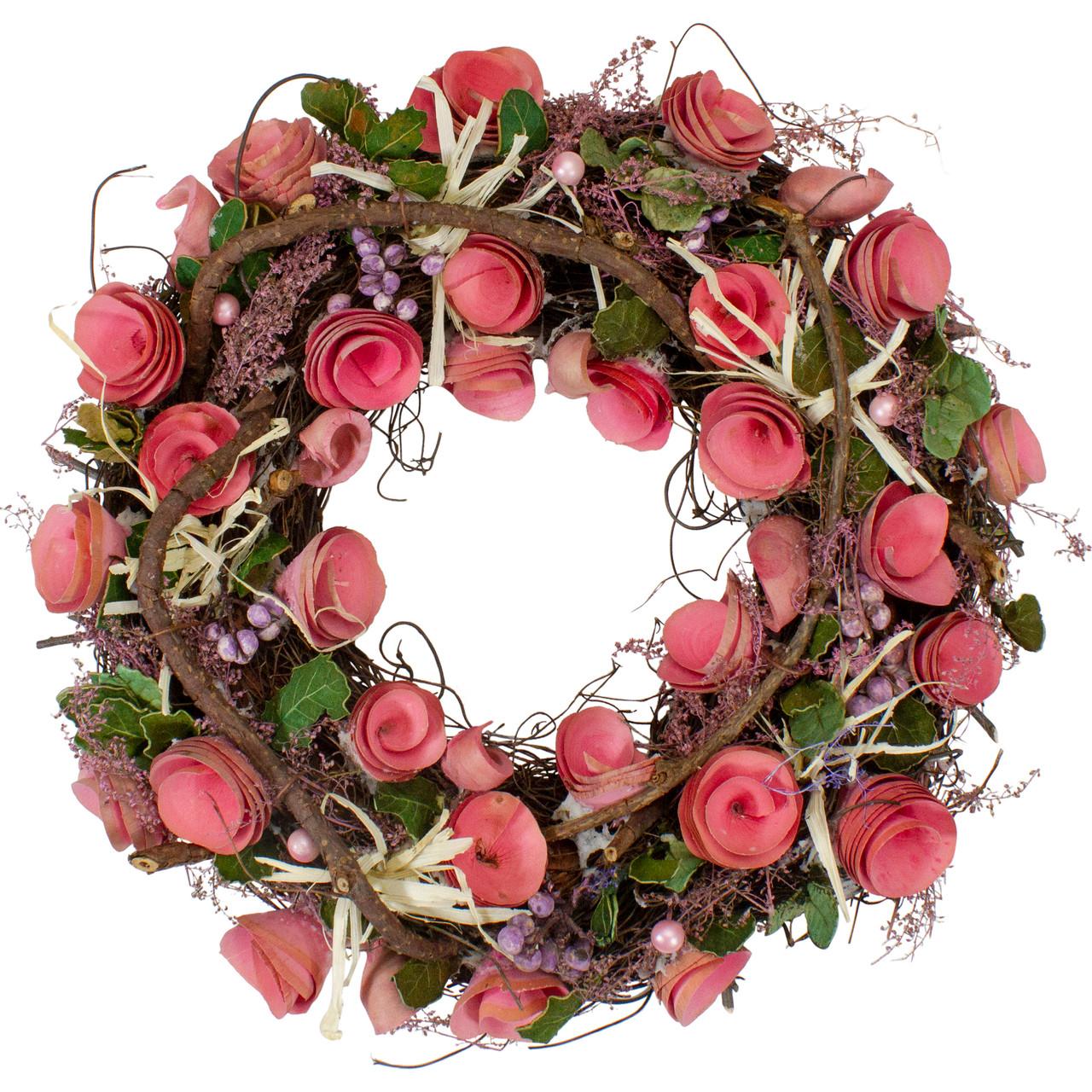 125 Pink Flowers Berries Green Leaves Twig Artificial Spring