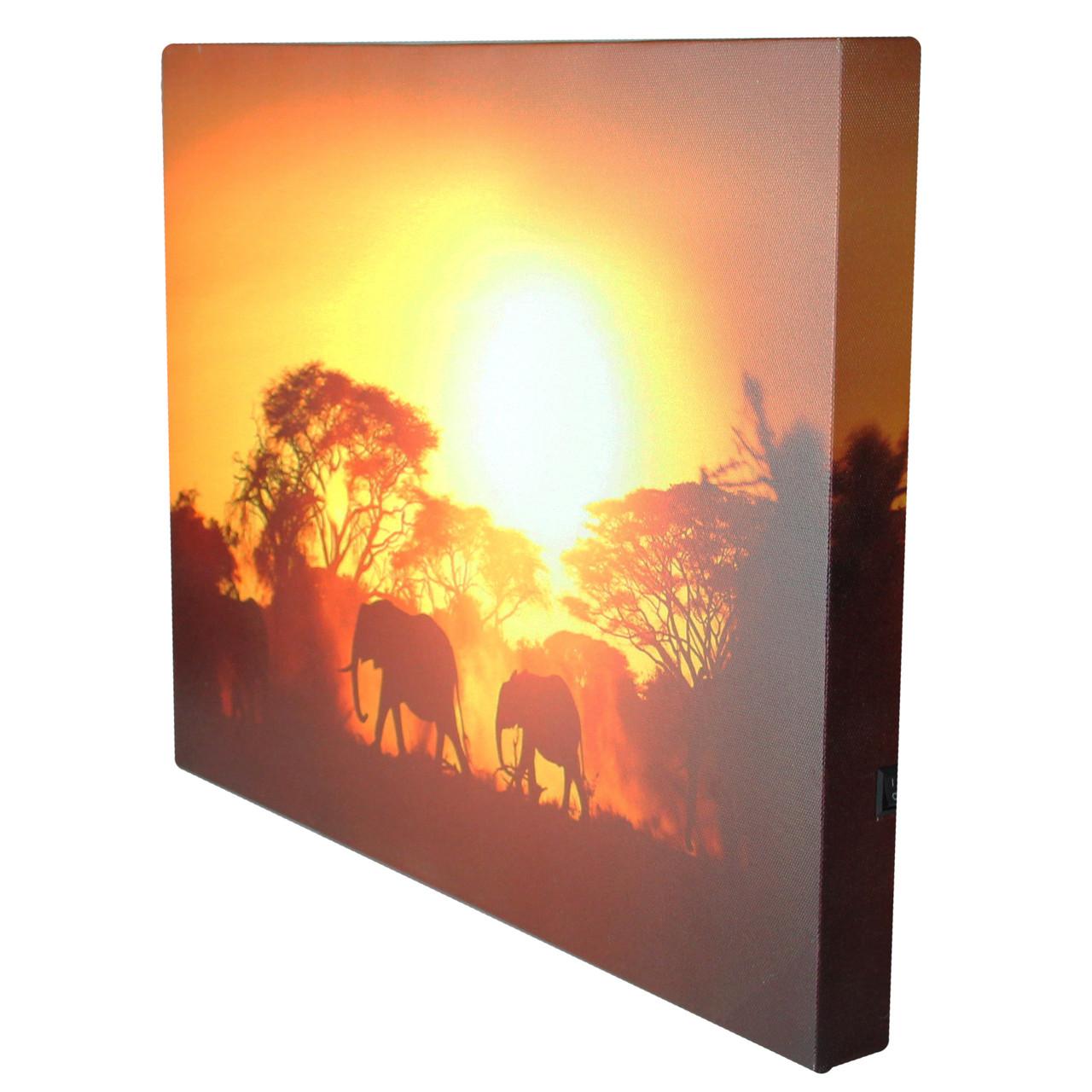 Safari Sunset LED Back Lit Decorative Elephant Canvas Wall Art 11.75 ...