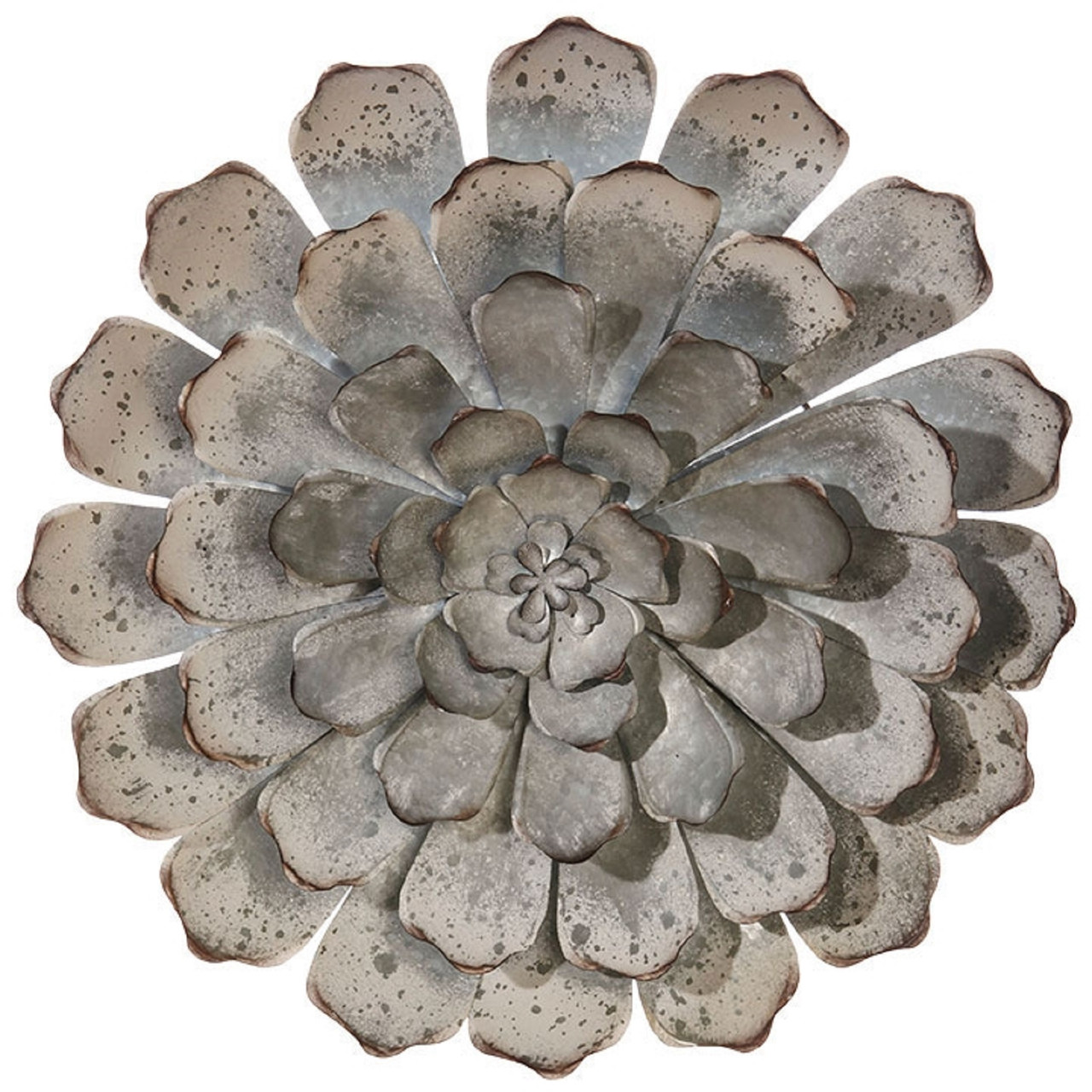 19.5  Silver Gray Succulent Distressed Metal Wall Art Decoration - 32745971  sc 1 st  Christmas Central & 19.5