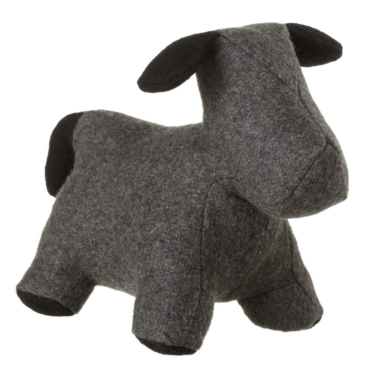 Set Of 2 Gray With Black Ears Felt Puppy Dog Door Stoppers 105