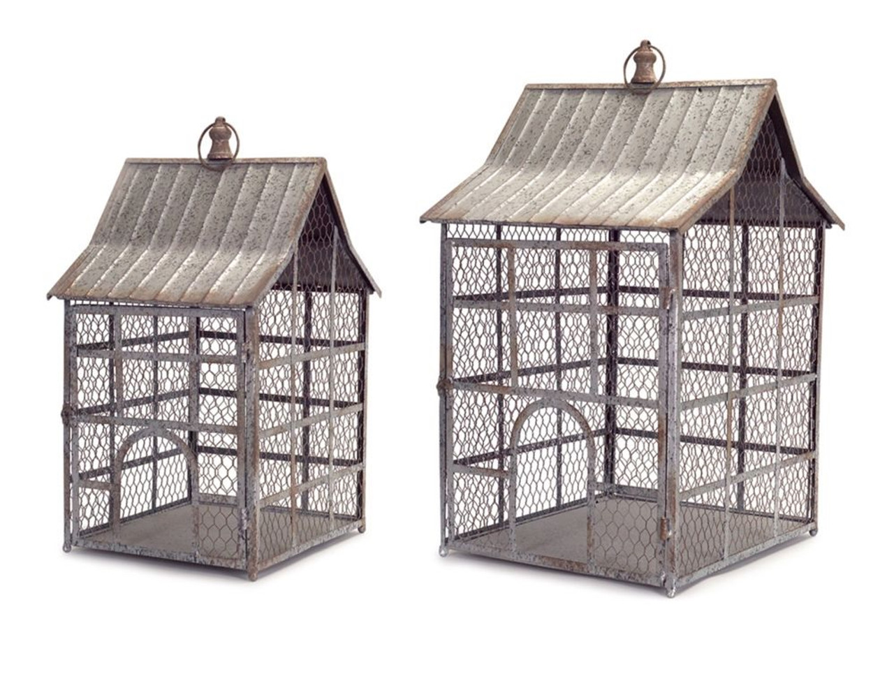 Set of 2 Antique Distressed Silver Chicken Wire & Tin Bird Cages 28 ...