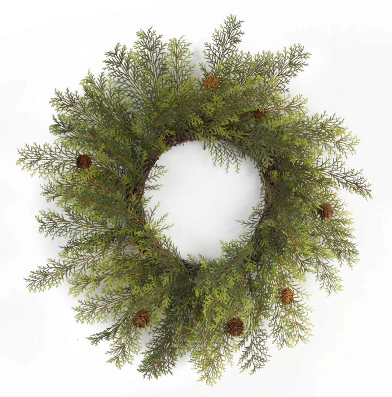 pack of 2 unique wispy artificial green cypress christmas wreaths with pine cones 24 32793266 - Cypress Christmas Tree