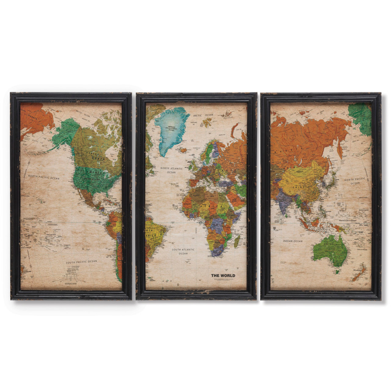 Set of 3 Traditional Style Tall World Map Framed Wall Art 23.5 ...