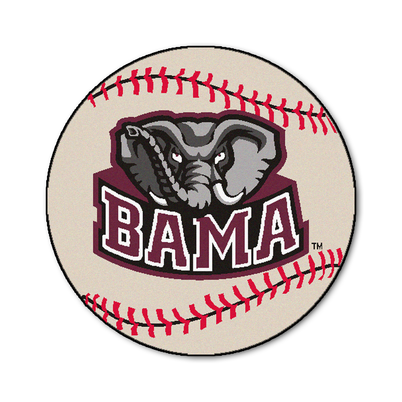 Ncaa University Of Alabama Crimson Tide Baseball Shaped Mat Round