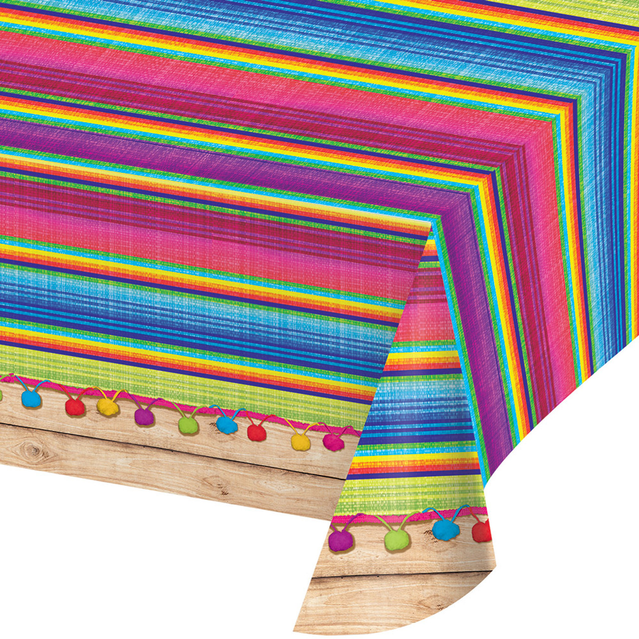 Pack Of 6 Vibrantly Colored Serape All Over Printed Plastic Table