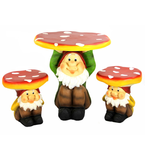 Charmant 3 Piece Jolly Gnome Table And Chair Novelty Garden Furniture Set   30928795