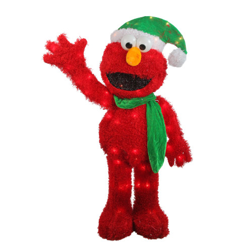 32 pre lit soft faux fur sesame street elmo christmas decoration clear lights 31303657
