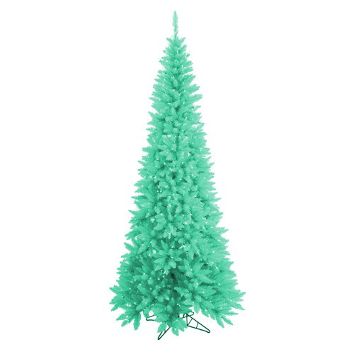 10' Pre-Lit Slim Seafoam Green Ashley Spruce Christmas