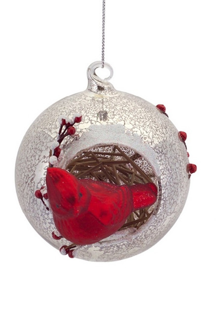 45 country cabin woodland inspired red cardinal mercury glass ball christmas ornament 31756984