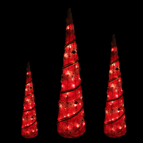 set of 3 red lighted sisal candy covered cone tree christmas outdoor decorations 31459482