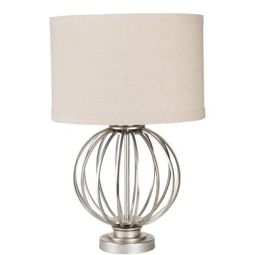 15 Round Antiqued Silver Metal Table Lamp With Oatmeal Linen Drum