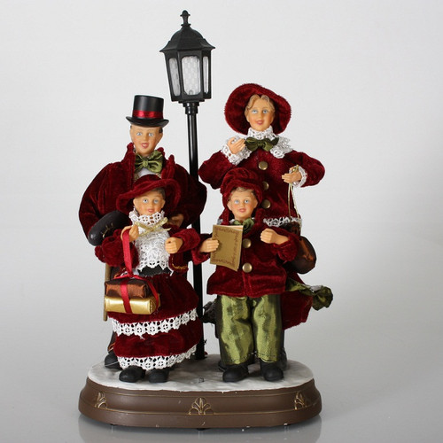 """24 Musical Lighted Caroler Family Christmas Table Top: 17"""" Animated Silent Night Red & White Choir Family"""