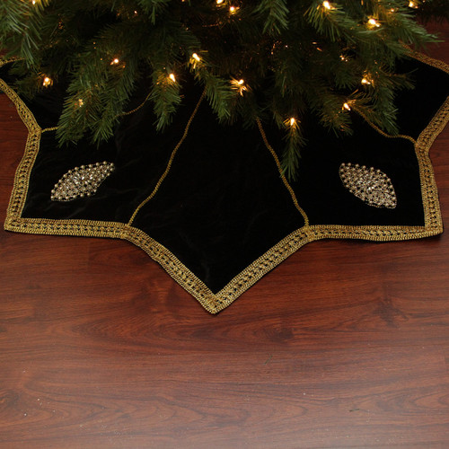 54 elegant gold trimmed black velveteen jeweled christmas tree skirt 31465049