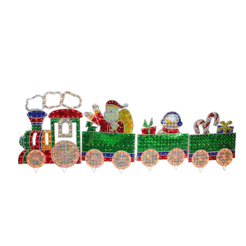 18 Magical Christmas Yard Decorations: 4-Piece Holographic Lighted Motion Train Set Christmas
