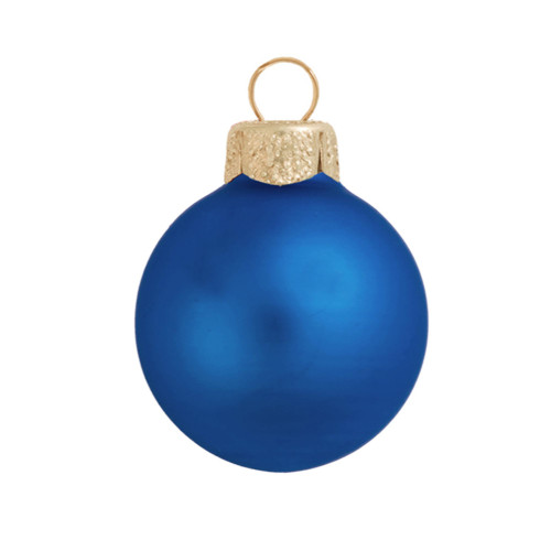28ct Matte Delft Blue Glass Ball Christmas Ornaments 2