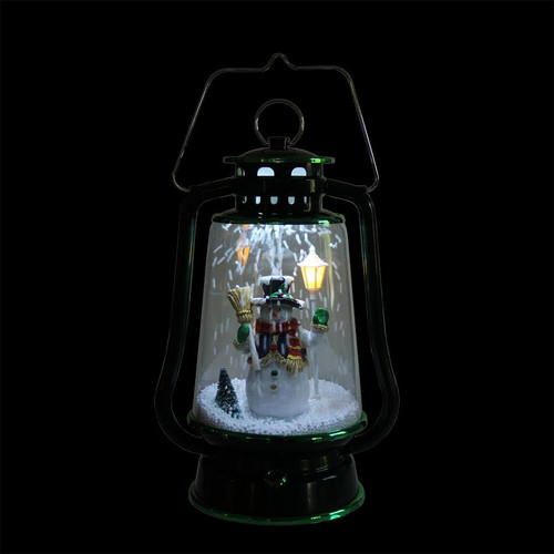 135 green lighted musical snowman snowing christmas table top lantern 32266719 - Snowing Christmas Decoration