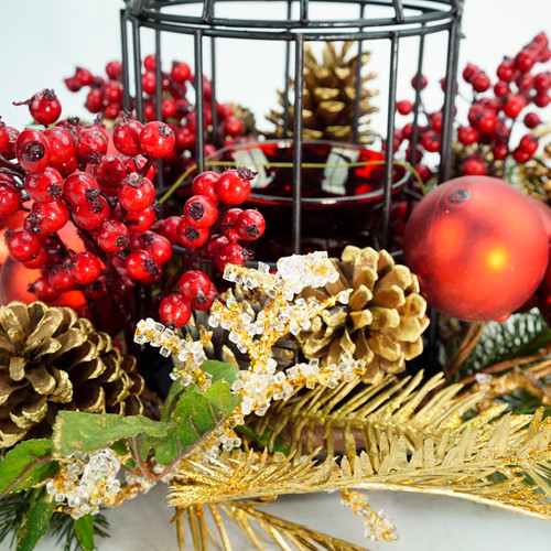 13 Berry Pine Cone Red Hurricane Glass In Birdcage Christmas