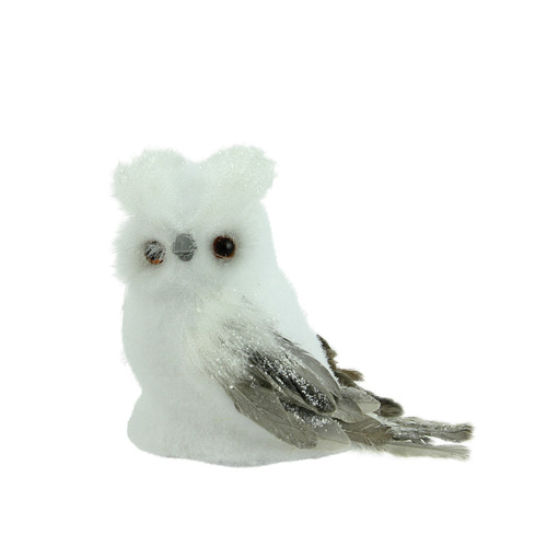 725 sparkling white and gray horned owl christmas tabletop decoration 32263140