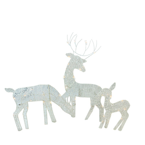 3 piece white glittered doe fawn and reindeer lighted christmas outdoor decorations 31422741