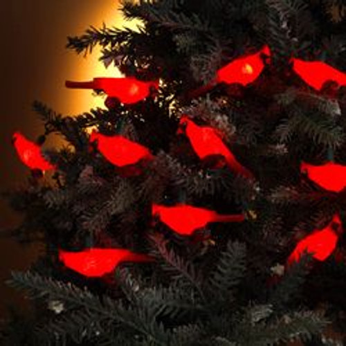 set of 10 festive red cardinal bird novelty christmas lights green wire 9483556