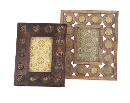 Set of egurra hand finished mango wood decorative photo frames