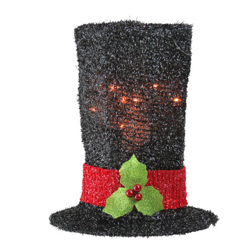 9 lighted black tinsel snowman top hat christmas tree topper clear lights 31576420