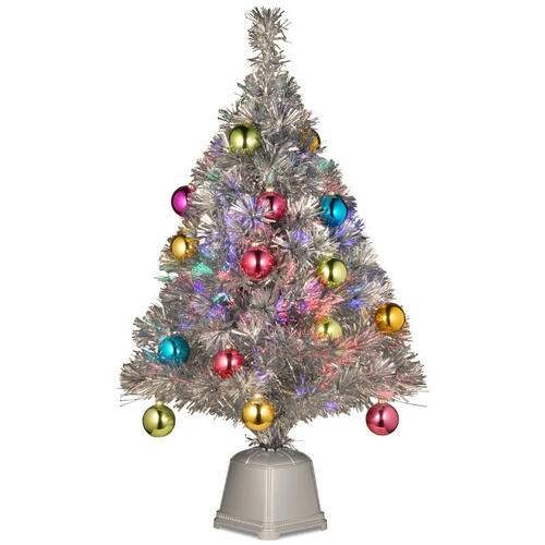 Silver Tinsel Christmas Tree With Color Wheel: 3' Pre-Lit Battery Operated Silver Fiber Optic Christmas