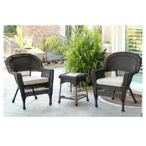 3 Piece Espresso Wicker Patio Chairs And End Table Furniture Set   Tan  Cushions   31556049