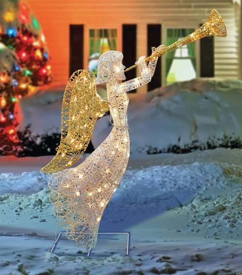 48 Quot Led Lighted White Amp Gold Glittered Angel Christmas