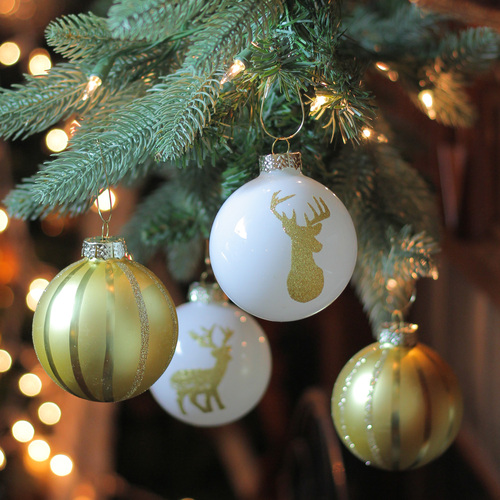 4ct champagne gold and white striped deer christmas glass ball ornaments 45 100 mm 32636487